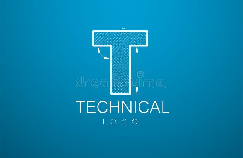 Letra T de la plantilla del logotipo en el estilo de un dibujo técnico stock de ilustración
