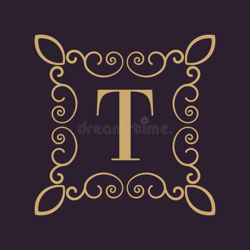 Letra T del monograma Ornamento caligráfico oro Conceptos retros, del negocio y del vintage Ilustración del vector ilustración del vector