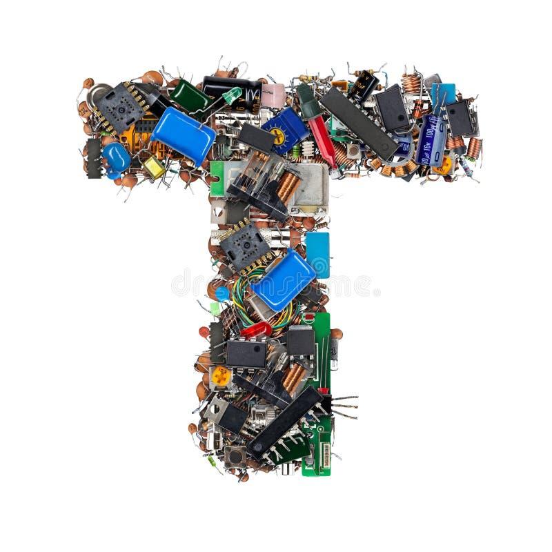 Letra T hecha de componentes electrónicos imagen de archivo libre de regalías