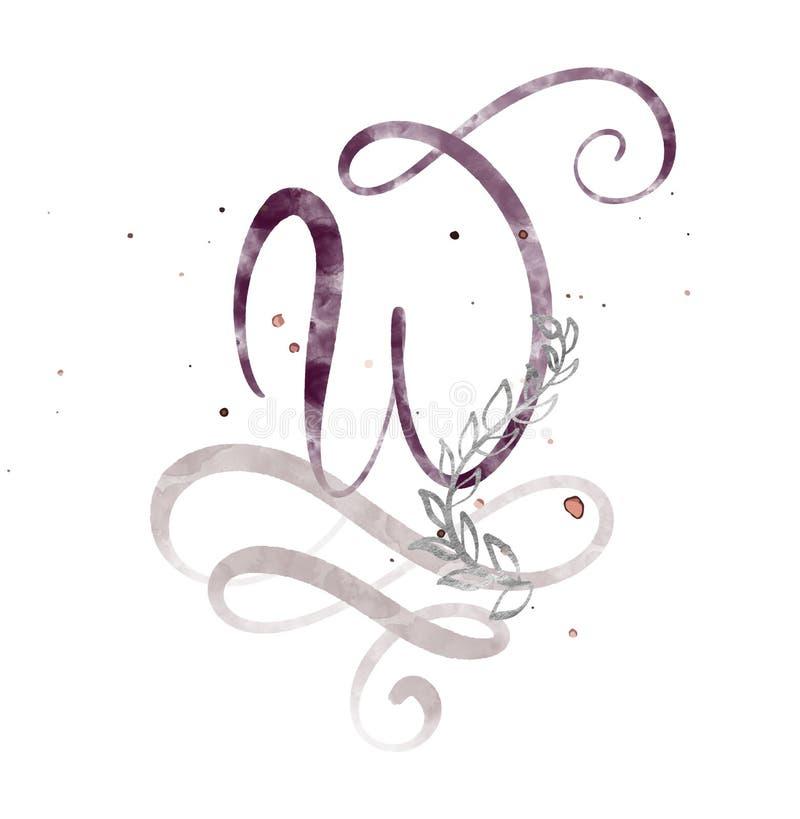 Letra tirada mão W da caligrafia fonte do roteiro da aquarela Letras isoladas escritas com tinta Estilo escrito à mão da escova ilustração do vetor