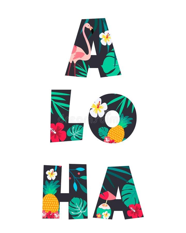Letra tropical ALOHA Poster con la piña, las flores y el flamenco stock de ilustración