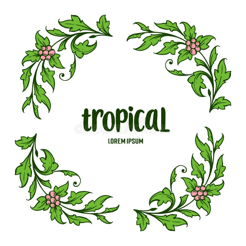 Letra tropical con las ilustraciones del bastidor frondoso verde Vector libre illustration