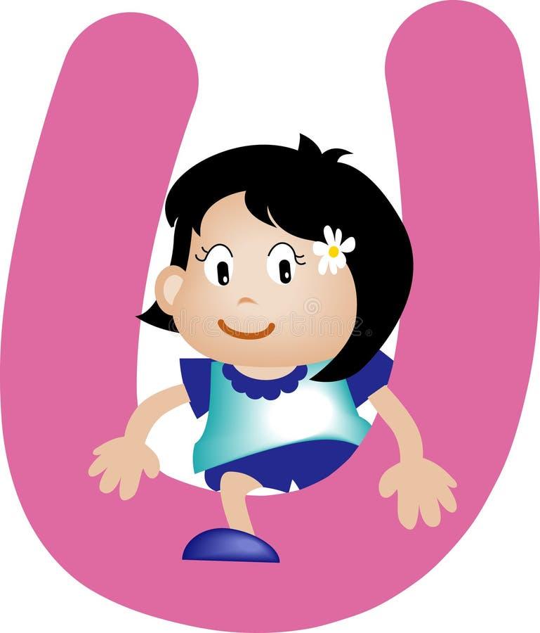 Letra U do alfabeto (menina) ilustração stock
