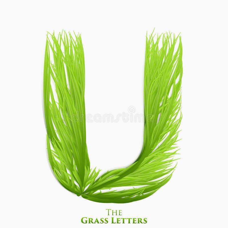 Letra U do vetor do alfabeto suculento da grama Símbolo verde de U que consiste crescendo a grama Alfabeto realístico de orgânico ilustração do vetor