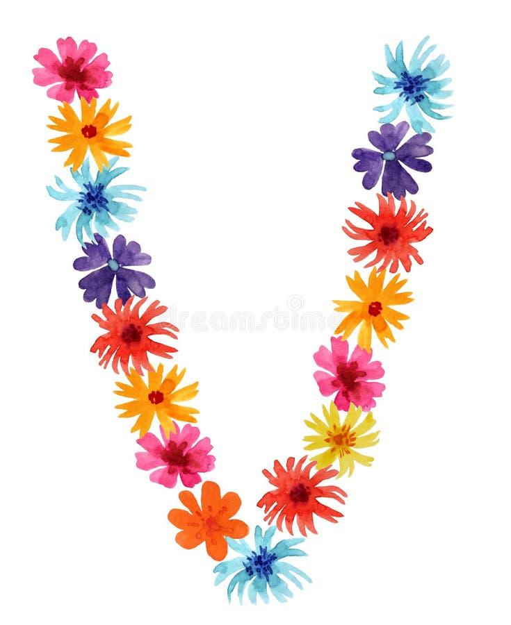 Letra V da aquarela do wildflowers r fotos de stock royalty free