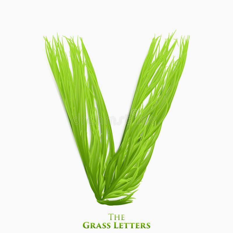 Letra V do vetor do alfabeto suculento da grama Símbolo verde de V que consiste crescendo a grama Alfabeto realístico de orgânico ilustração do vetor