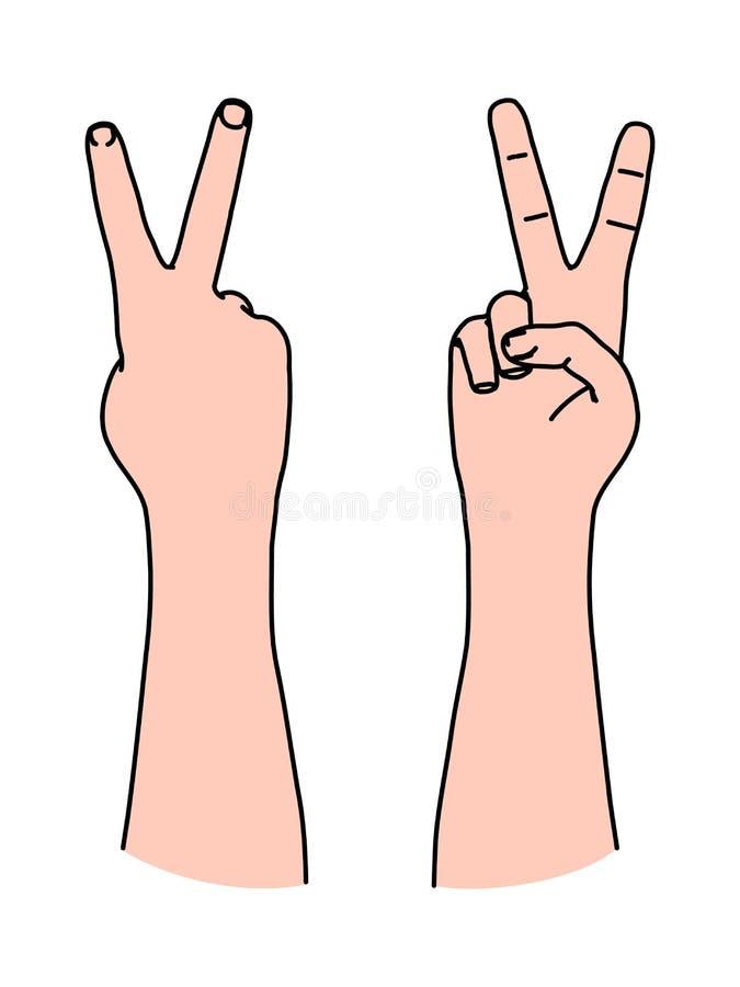 Letra V por dois dedos como o símbolo da vitória e o sinal da paz ilustração royalty free