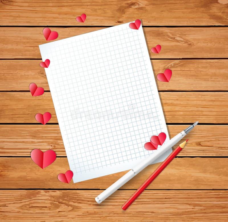 Letra vazia ou folha limpa com muitos corações dobrados de papel ilustração do vetor