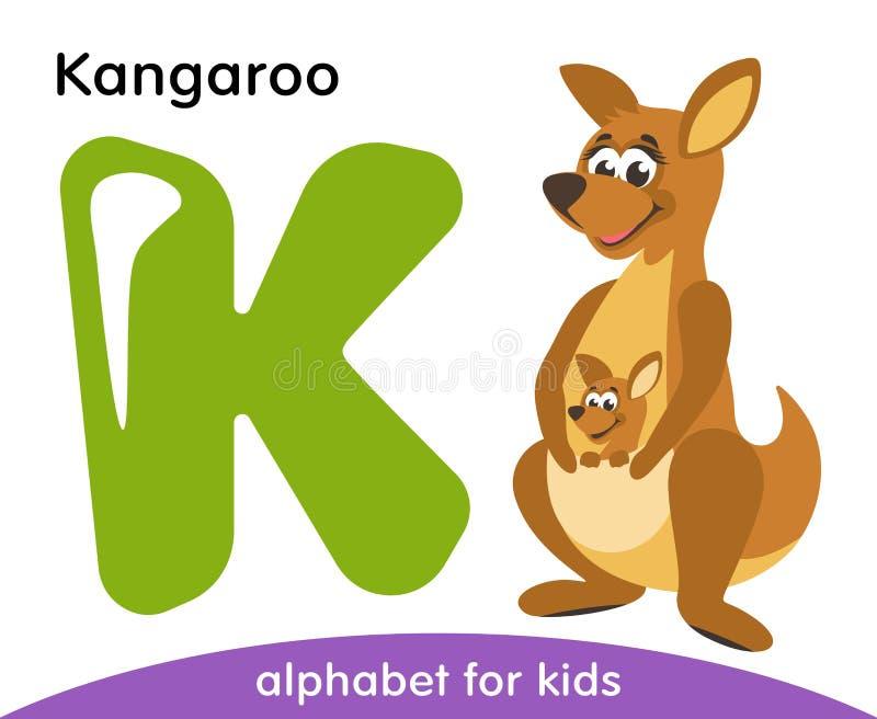 Letra verde K e canguru bonito marrom ilustração do vetor