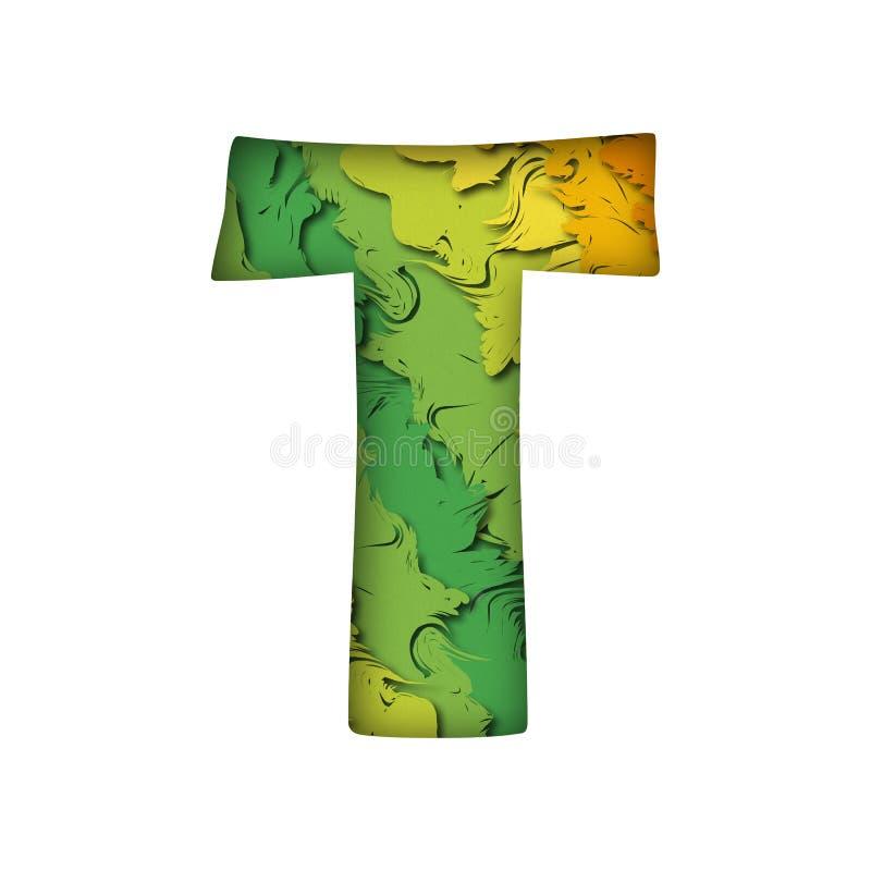 Letra verde na moda t do papercut fotos de stock royalty free