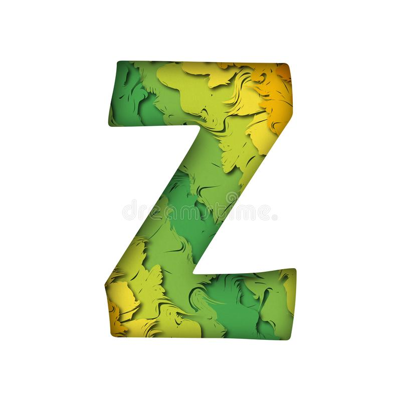Letra verde na moda z do papercut imagens de stock royalty free
