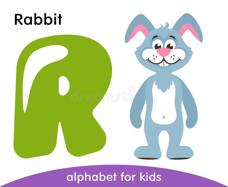 Letra verde R e coelho azul ilustração stock