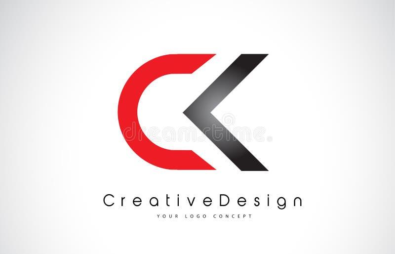 Letra vermelha e preta Logo Design das CK C K Logotipo moderno do vetor das letras do ícone criativo ilustração stock