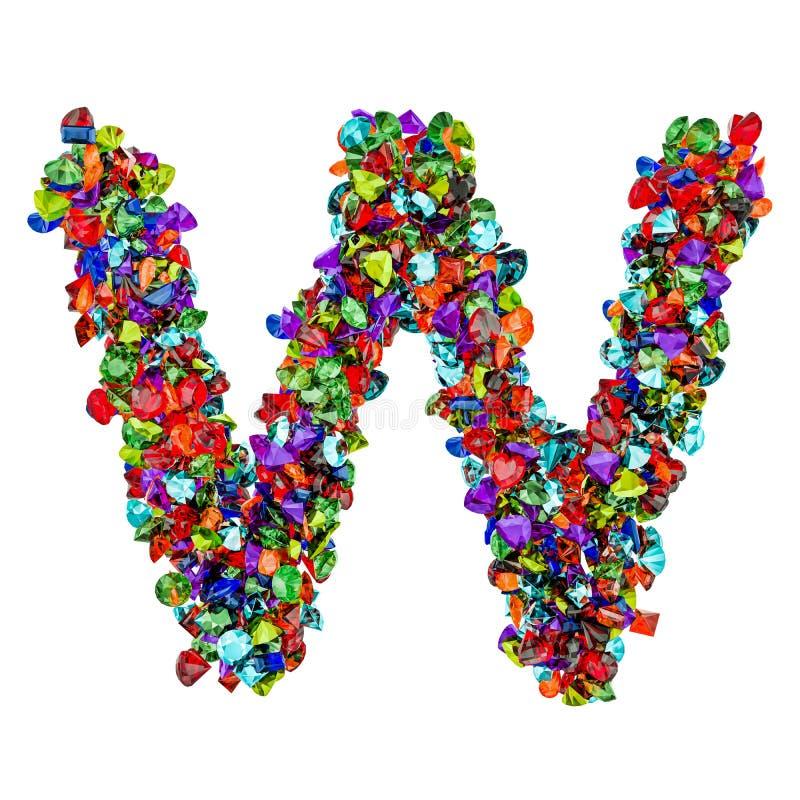 Letra W das pedras preciosas coloridas rendição 3d ilustração stock