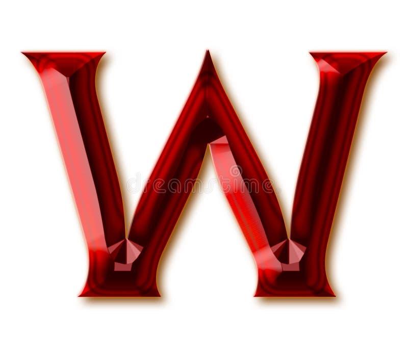 Letra W del alfabeto de rubíes tallado elegante stock de ilustración