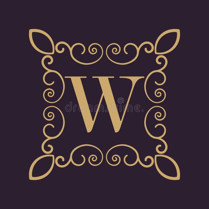 Letra W del monograma Ornamento caligráfico oro Conceptos retros, del negocio y del vintage Ilustración del vector libre illustration