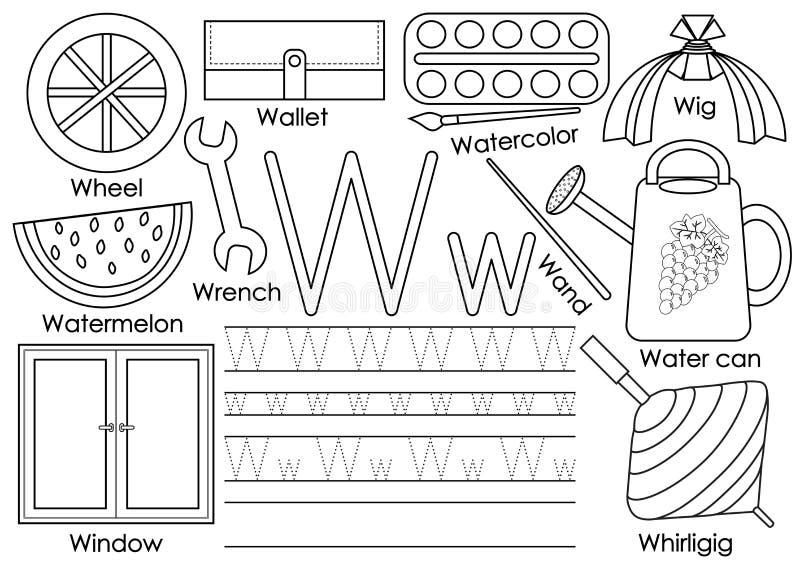 Letra W Instrução para crianças Aprendendo o alfabeto inglês ilustração royalty free