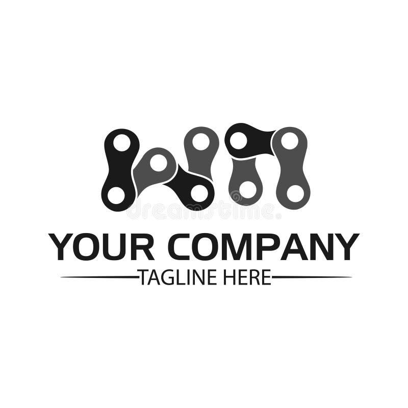 Letra WN, Logo Letter WN e corrente logotipo formado pela corrente ilustração stock