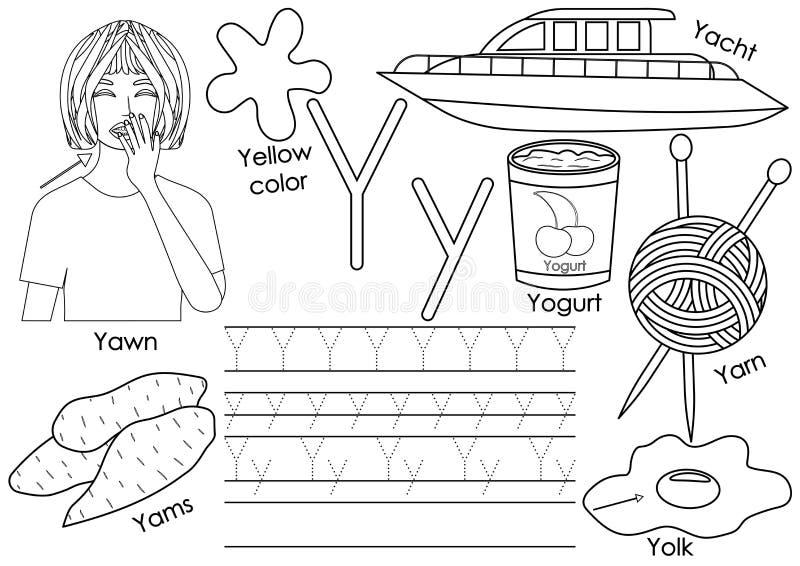 Letra Y Aprendendo o alfabeto inglês com imagens ilustração stock