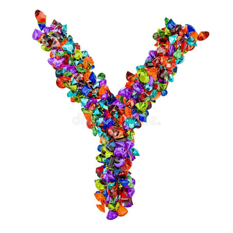 Letra Y das pedras preciosas coloridas rendição 3d ilustração stock