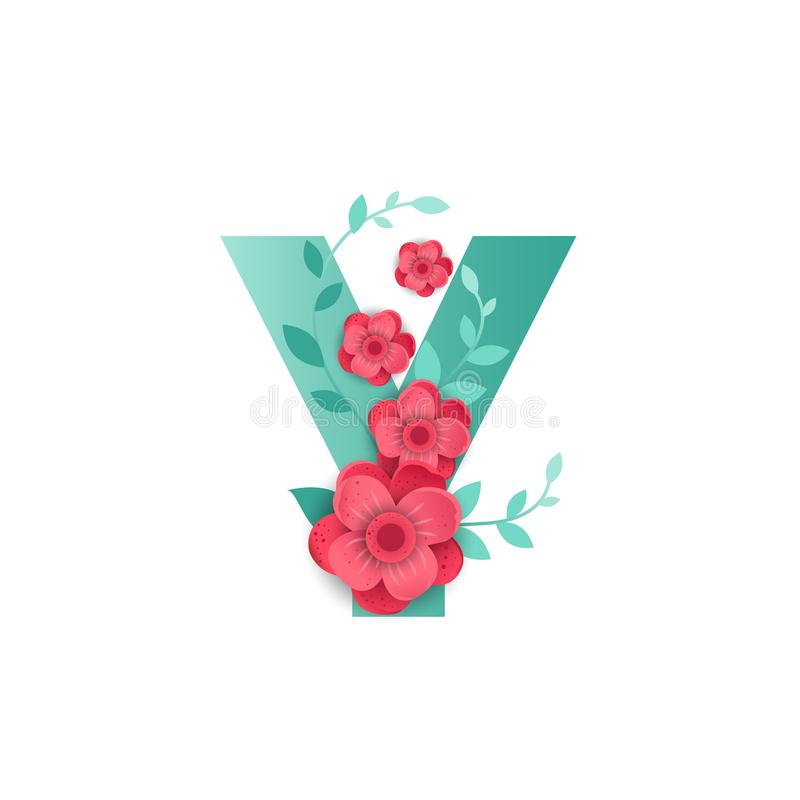 Letra Y del color con las flores hermosas libre illustration