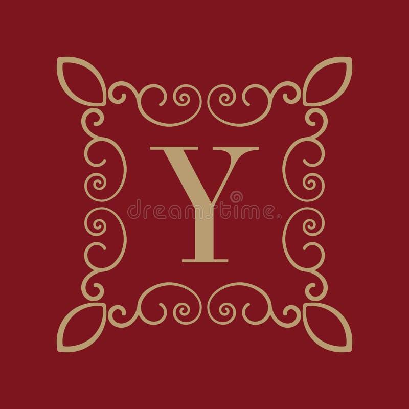 Letra Y del monograma Ornamento caligráfico oro Conceptos retros, del negocio y del vintage Ilustración del vector ilustración del vector
