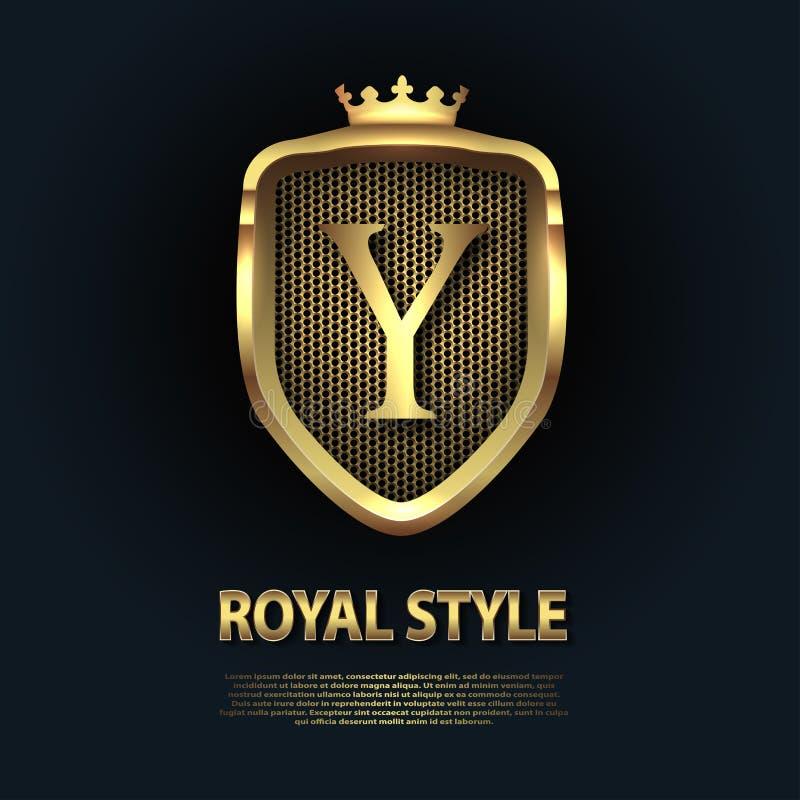 Letra Y no protetor com a coroa isolada no fundo escuro Molde inicial dourado do vetor do neg?cio do logotipo 3D luxo ilustração do vetor