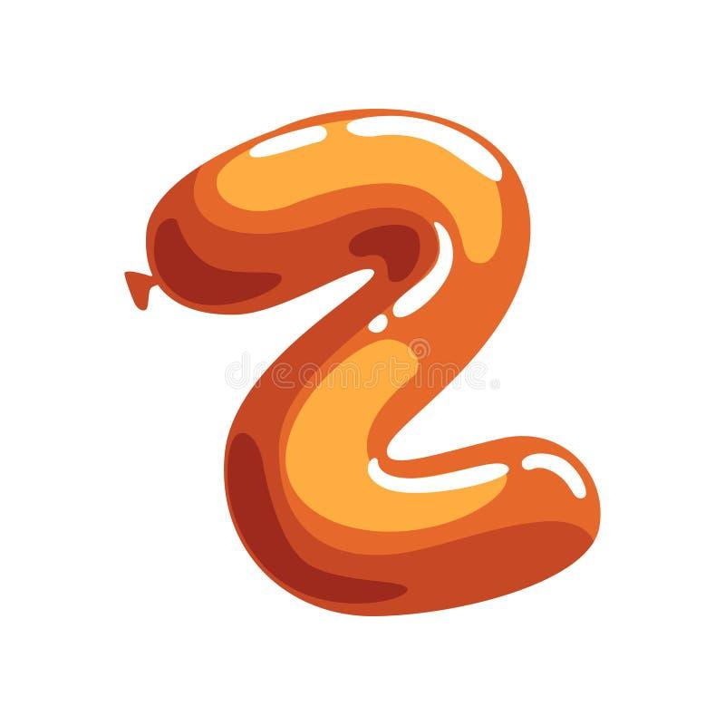 Letra Z de la historieta hecha del balón de aire anaranjado Fuente del alfabeto inglés Concepto de ABC Diseño plano aislado del v stock de ilustración