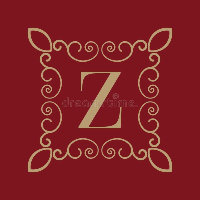 Letra Z del monograma Ornamento caligráfico oro Conceptos retros, del negocio y del vintage Ilustración del vector stock de ilustración