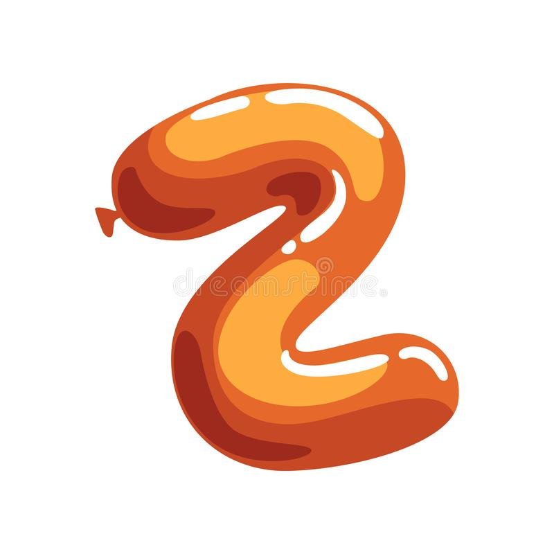 Letra Z dos desenhos animados feita do balão de ar alaranjado Fonte do alfabeto inglês Conceito de ABC Projeto liso isolado do ve ilustração stock