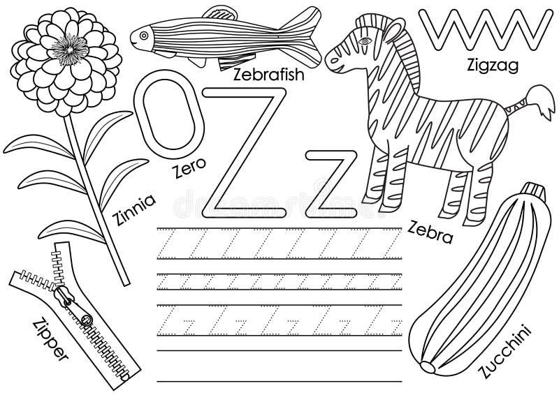Letra Z Educación para los niños Aprendizaje de alfabeto inglés stock de ilustración