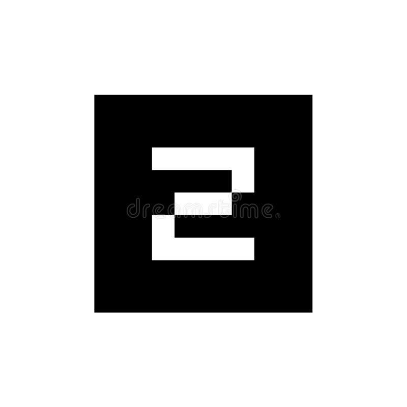 Letra Z Logo Icon, combinado con forma de la casilla negra stock de ilustración