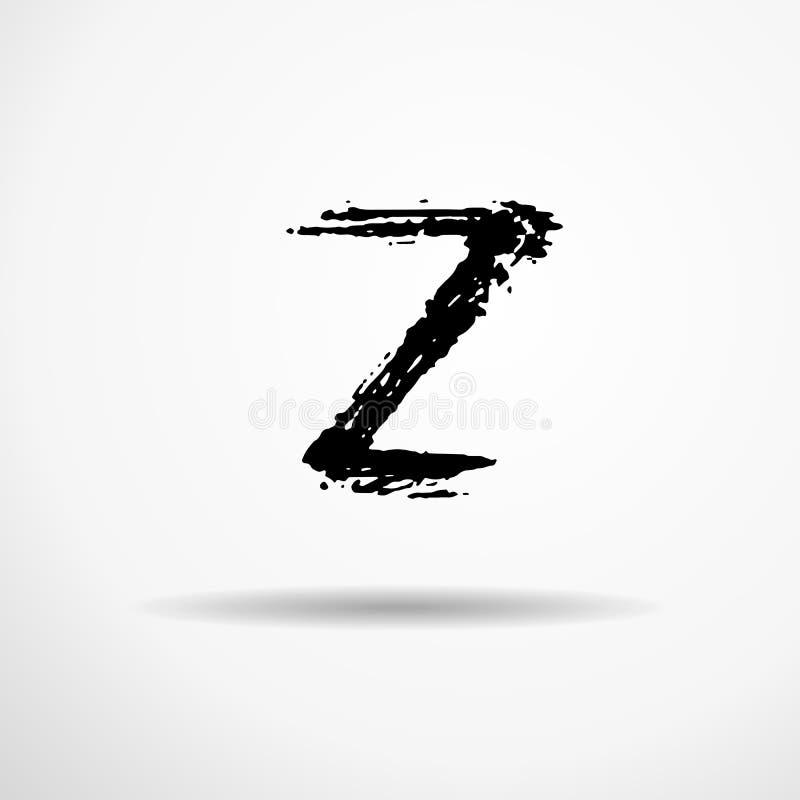 Letra Z Manuscrito por el cepillo seco Los movimientos ásperos texturizaron la fuente Ilustración del vector Alfabeto del estilo  ilustración del vector