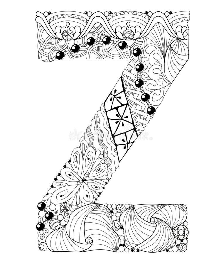 Letra Z Para Colorir Objeto Decorativo Do Zentangle Do Vetor
