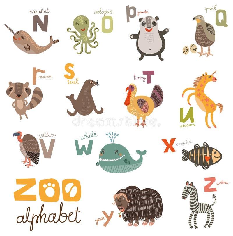 Letras ajustadas do alfabeto brilhante com animais bonitos ilustração stock