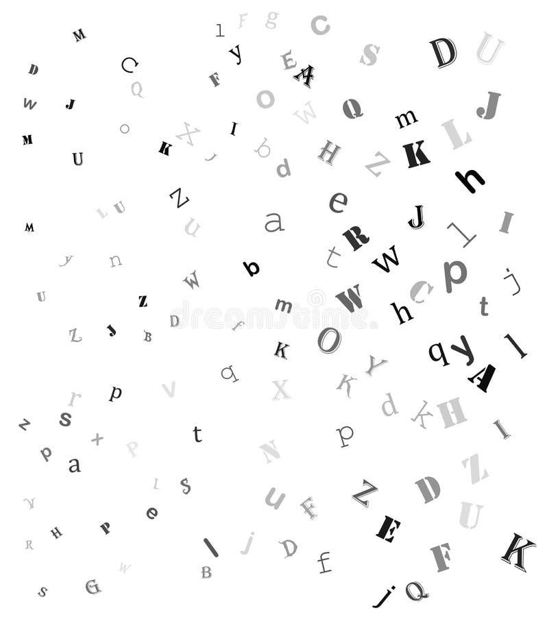 Letras aleatórias de queda, projeto bonito do fundo do alfabeto ilustração do vetor