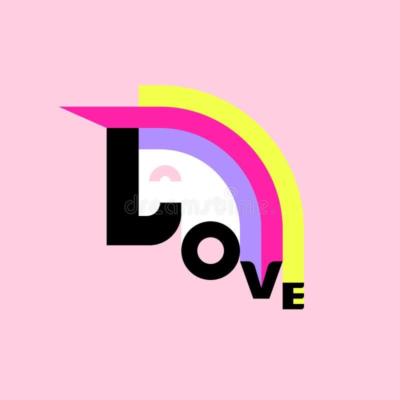 Letras alegres del unicornio y de amor Cartel plano del estilo ilustración del vector