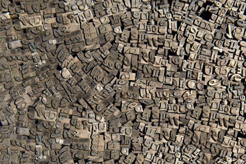 Letras alemanas de la vieja prensa de copiar, bckground foto de archivo