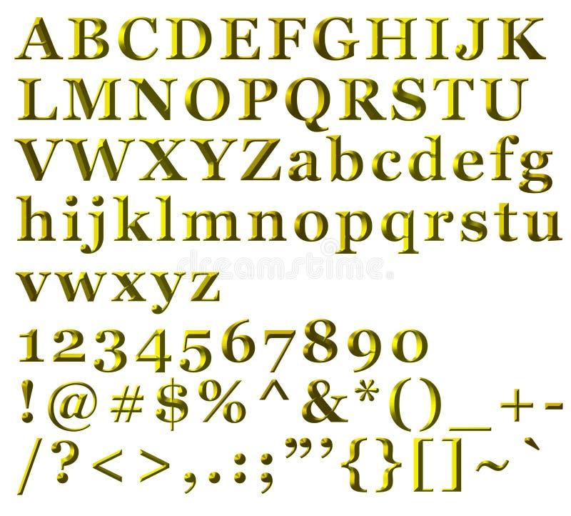 Letras alfabéticas, números e símbolos dourados ilustração royalty free