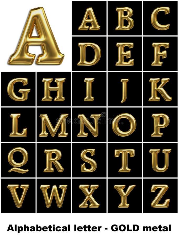 Letras alfabéticas no metal do ouro ilustração do vetor