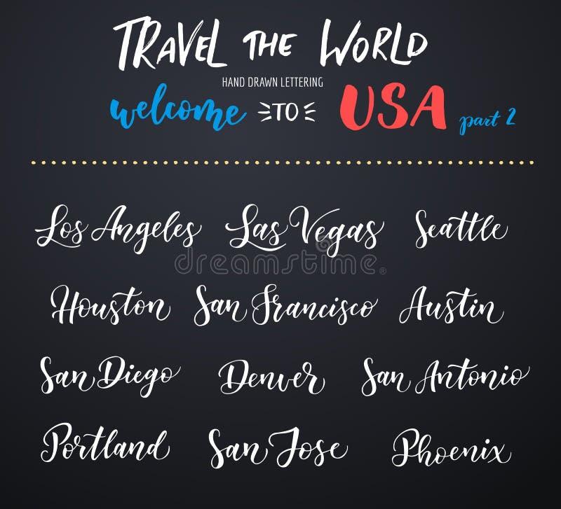 Letras americanas del vector de la ciudad Tipografía, los E.E.U.U. - Los Ángeles, Las Vegas, Seattle, San Francisco, Houston, San ilustración del vector