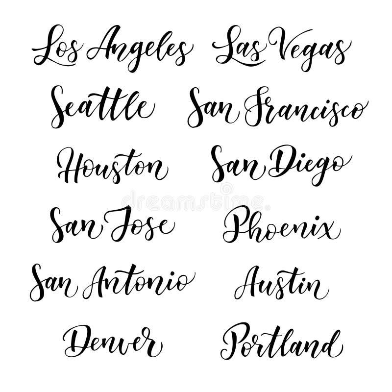 Letras americanas del vector de la ciudad Tipografía, los E.E.U.U. - Los Ángeles, Las Vegas, Seattle, San Francisco, Houston, San libre illustration