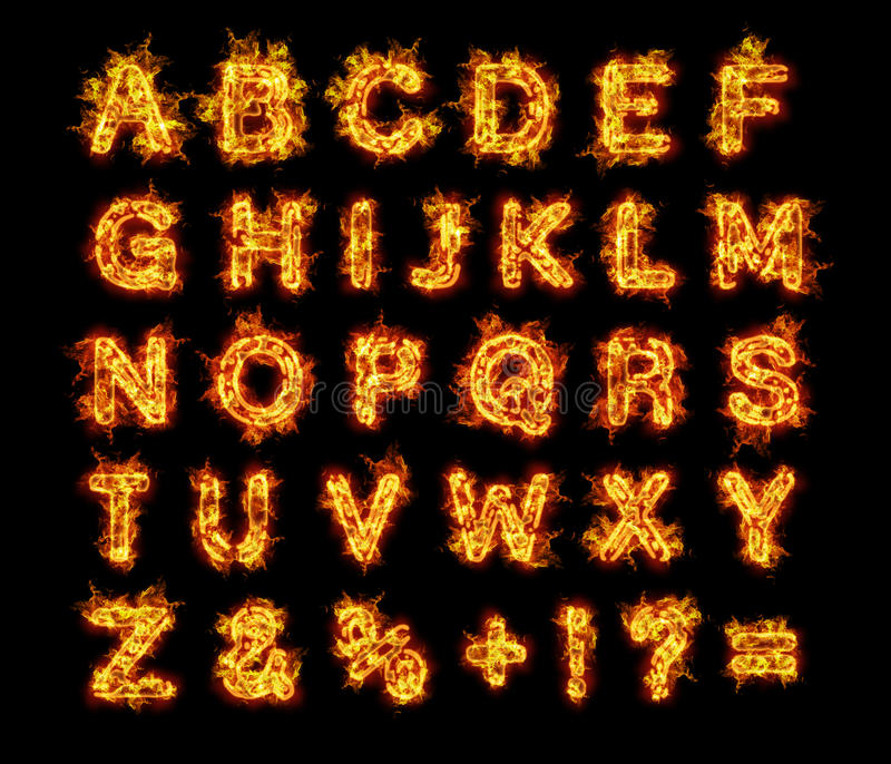 Letras ardientes del alfabeto del fuego de las llamas ilustración del vector