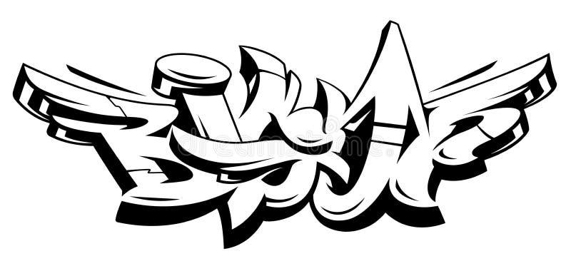 Letras ascendentes grandes del vector de la pintada ilustración del vector