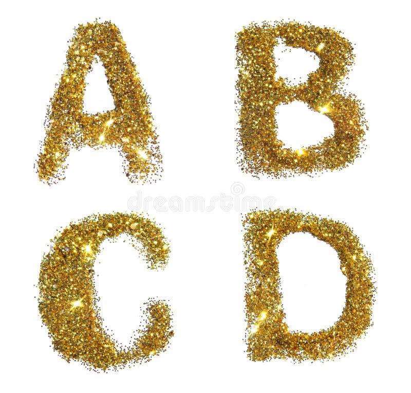 Letras A, B, C, D de la chispa de oro del brillo en el fondo blanco imagen de archivo libre de regalías