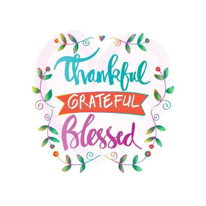 Letras bendecidas agradecidas agradecidas ilustración del vector