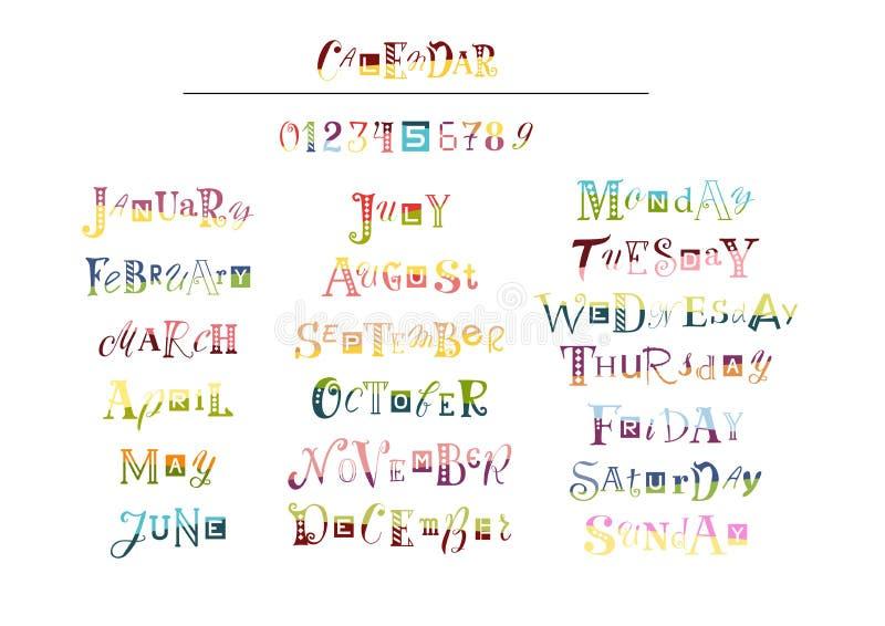 Letras bicolores dibujadas mano fijadas para el calendario libre illustration