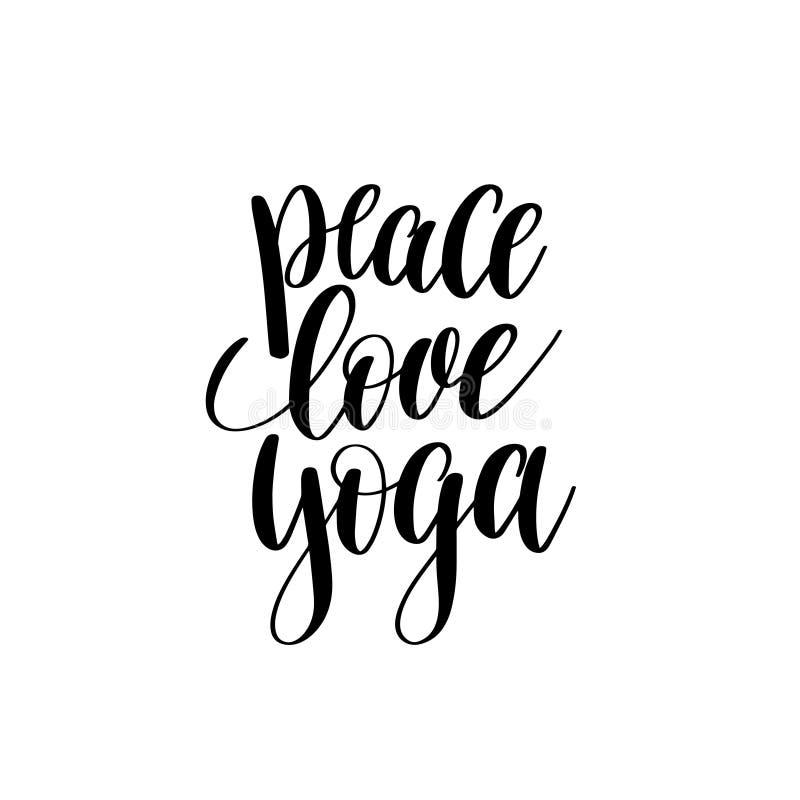 Letras blancos y negros de la mano de la yoga del amor de la paz libre illustration