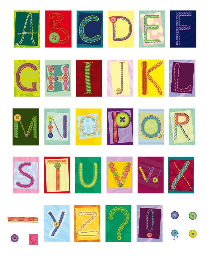 Letras bordadas, matéria têxtil ilustração stock