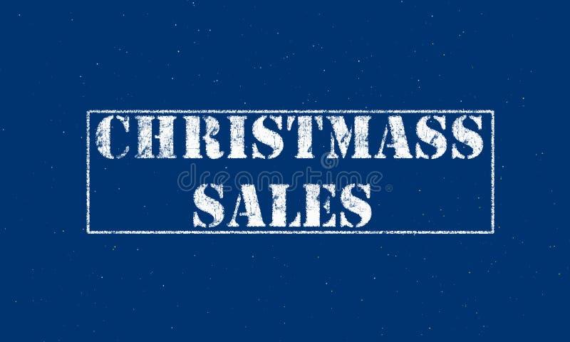 letras brancas das vendas do Natal do carimbo de borracha em um fundo azul ilustração royalty free